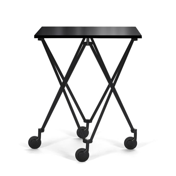 Sax Beistellwagen von ClassiCon mit Gestell in Schwarz / Tischplatte Kristallglas Schwarz
