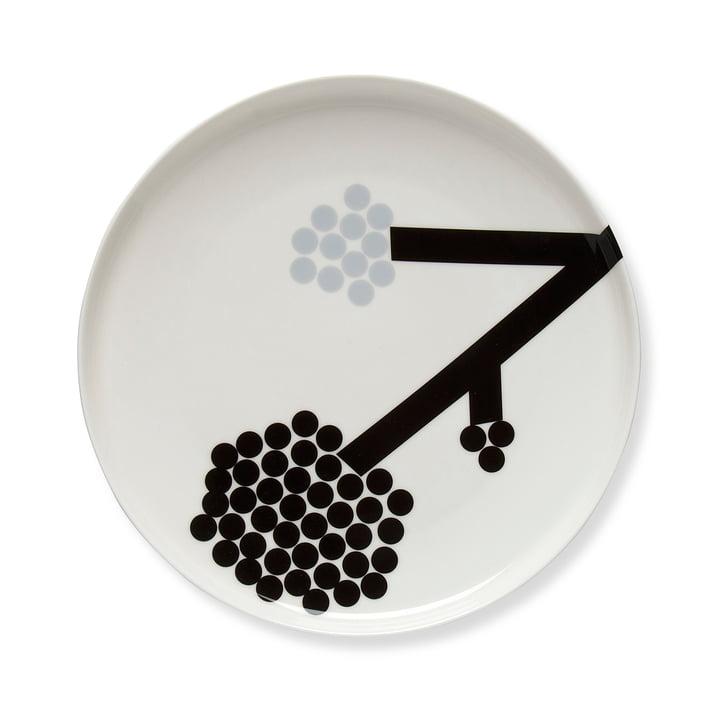 Hortensie Teller Ø 25 cm von Marimekko in Schwarz / Weiß / Grau