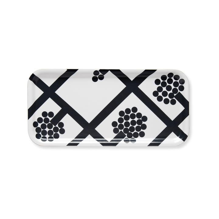 Spaljé Tablett, 15 x 32 cm von Marimekko in Schwarz / Weiß