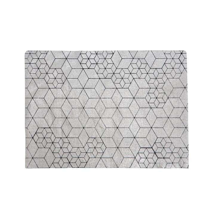 Mika Barr - Tischset Tin, 50 x 40 cm, silber / schwarz
