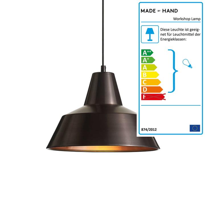 Workshop Lamp W3 von Made by Hand in verwittertes Kupfer / Schwarz
