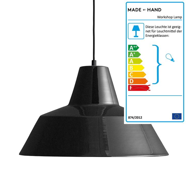 Workshop Lamp W4 von Made by Hand in glänzend Schwarz / Schwarz