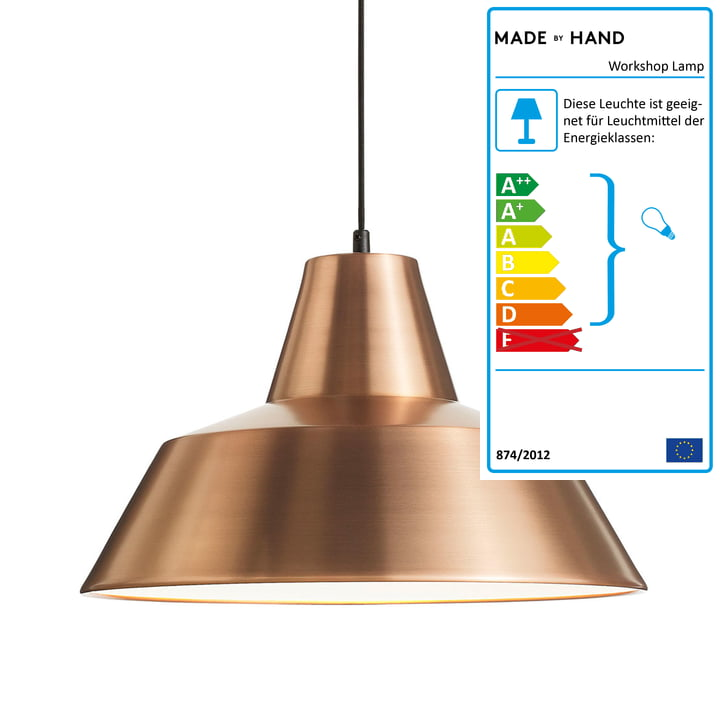 Workshop Lamp W4 von Made by Hand in Kupfer / Weiß / Schwarz