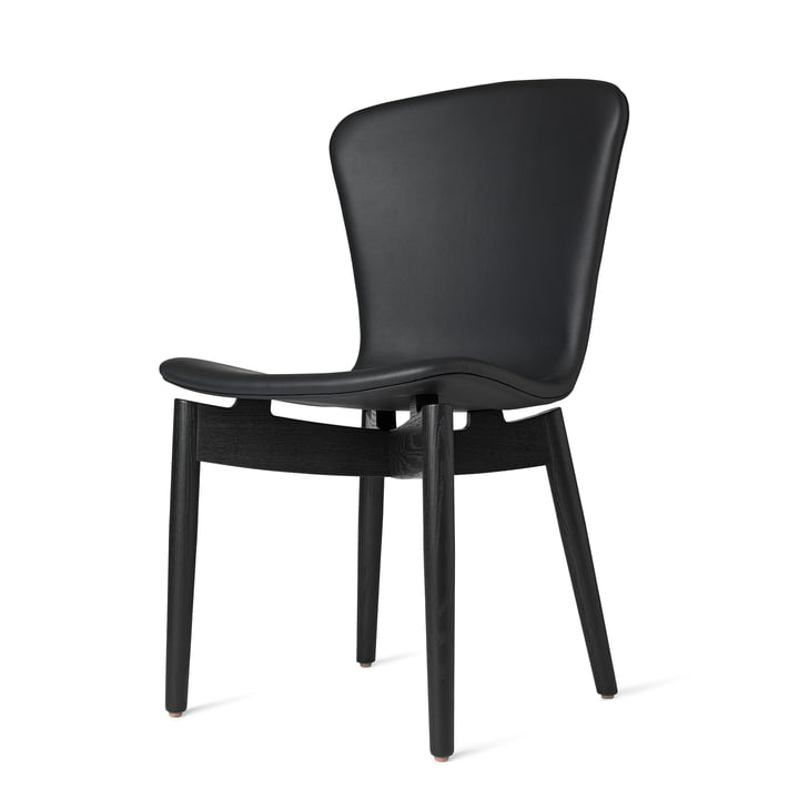 Shell Dining Chair von Mater in Eiche schwarz gebeizt / Leder Ultra Black