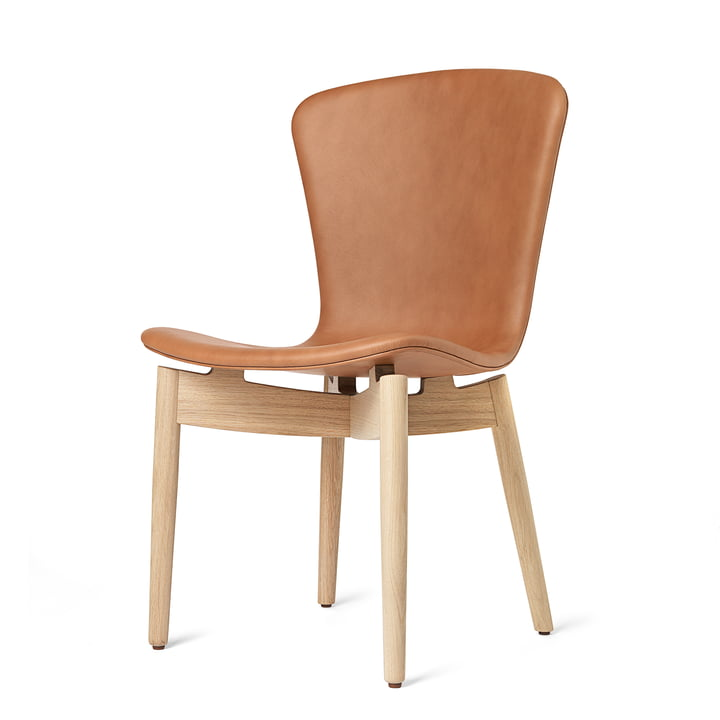Shell Dining Chair von Mater in Eiche matt lackiert / Leder Ultra Brandy