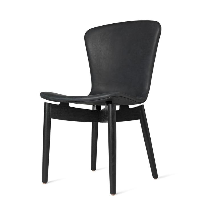 Shell Dining Chair von Mater in Eiche schwarz gebeizt / Leder Dunes Anthrazite Black