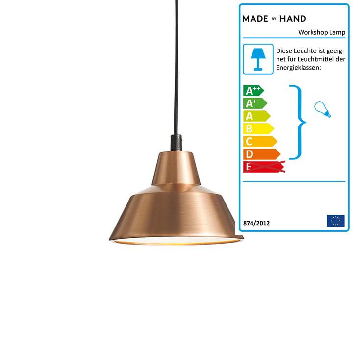 Die Made by Hand - Workshop Lamp W1 in Kupfer / weiß / schwarz