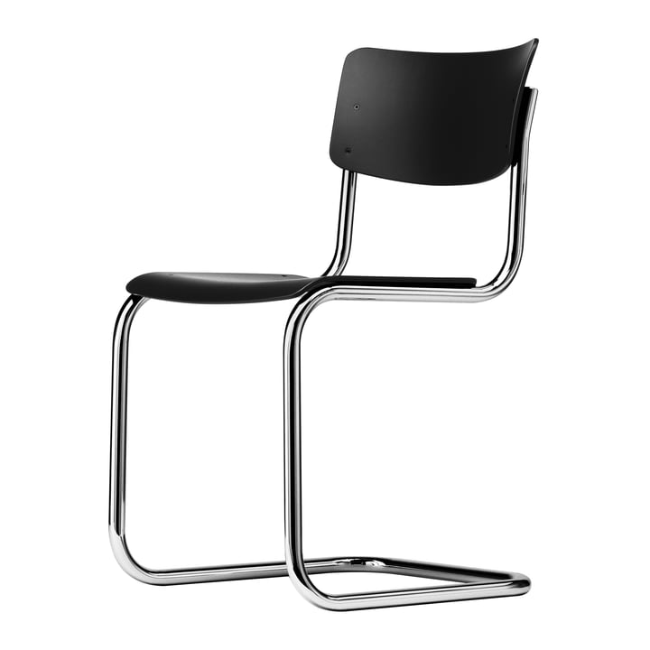 S 43 Stuhl von Thonet in Chrom / Buche schwarz gebeizt (TP 29)