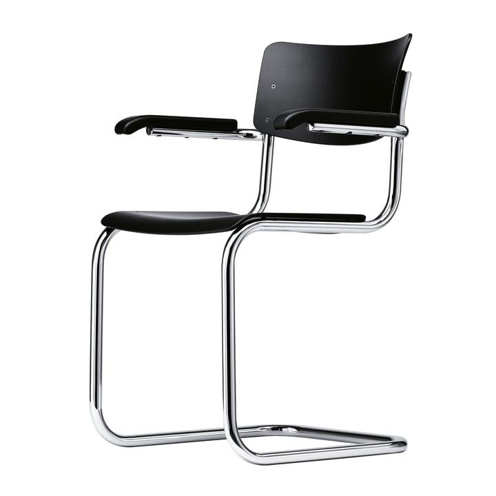 S 43 F Stuhl von Thonet aus Chrom / Buche schwarz gebeizt (TP 29)