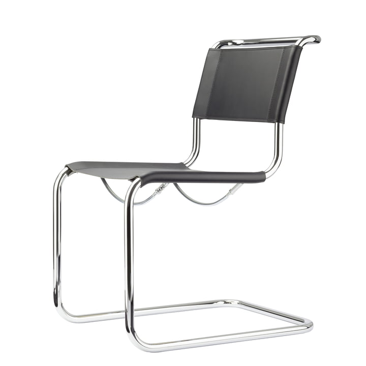 S 33 Stuhl von Thonet in Chrom / Kernleder Schwarz