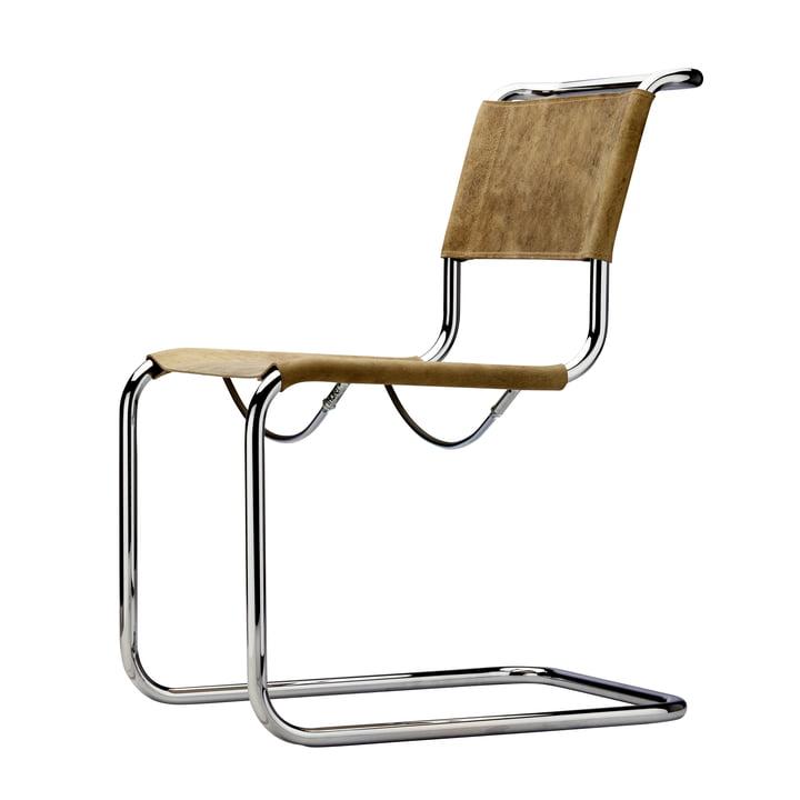 S 33 Stuhl von Thonet in Chrom / Büffelleder Braun