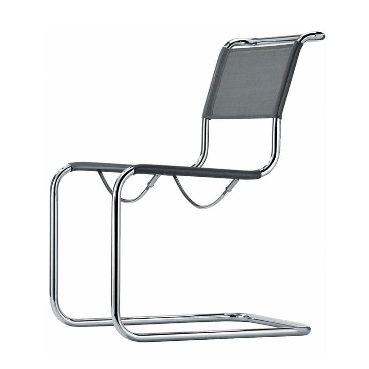 S 33 N Stuhl von Thonet in Chrom / Netzgewebe Silber