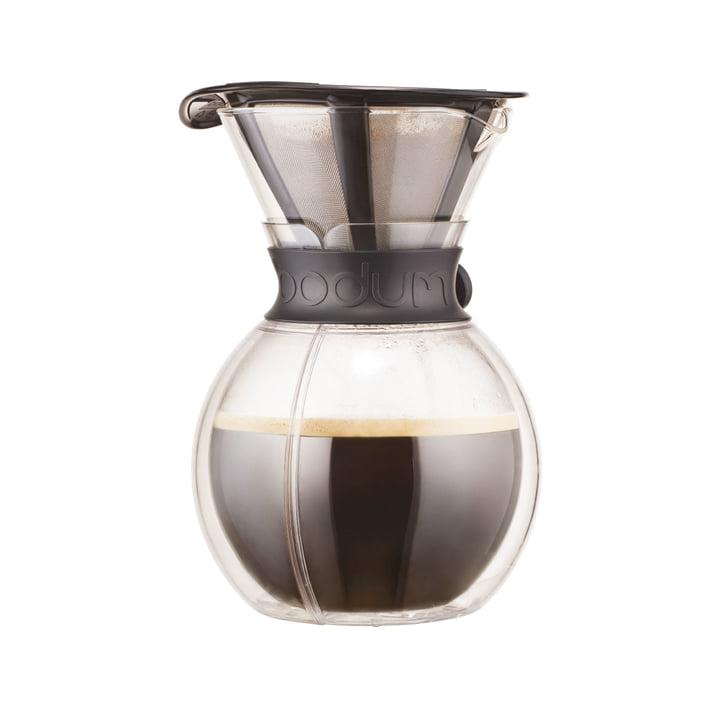 Pour Over Kaffeebereiter mit Permanentfilter 1 l von Bodum in Tritan/ Schwarz