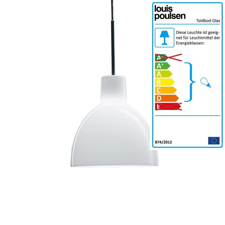 Die Louis Poulsen - ToldbodGlas Pendelleuchte, Ø 220 mm in weiß