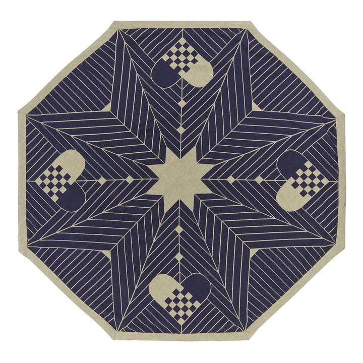 Octagon Weihnachtbaum-Teppich 130 x 130 cm von Georg Jensen Damask in Blau Gold