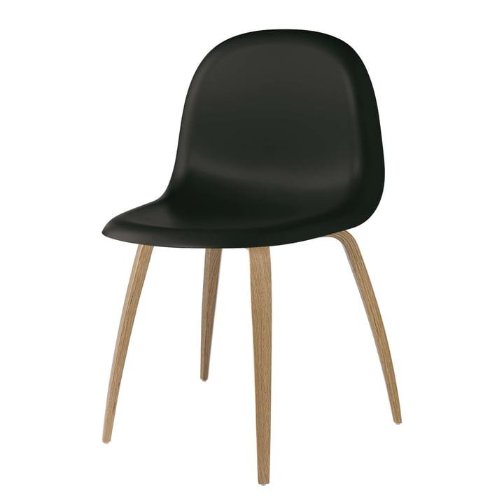 3D Dining Chair Wood Base von Gubi in Eiche / Midnight Black