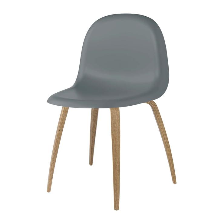 3D Dining Chair Wood Base von Gubi in Eiche / Rainy Grey