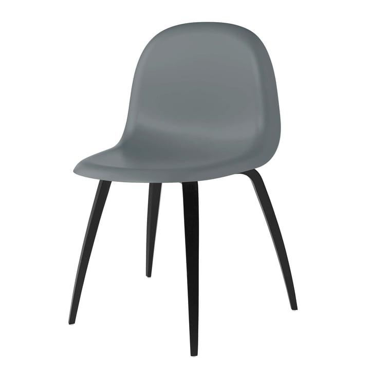 3D Dining Chair Wood Base von Gubi in Buche schwarz gebeizt / Rainy Grey