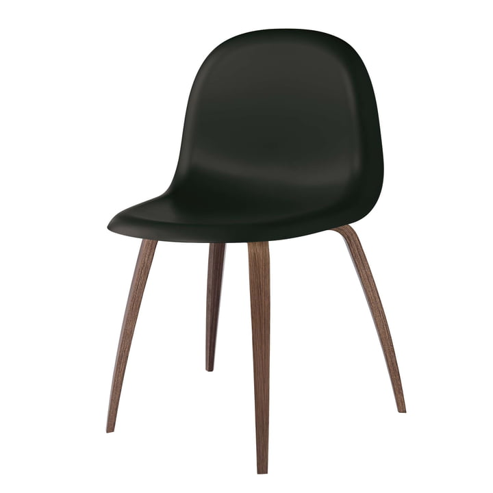 3D Dining Chair Wood Base von Gubi in Walnuss / Midnight Black