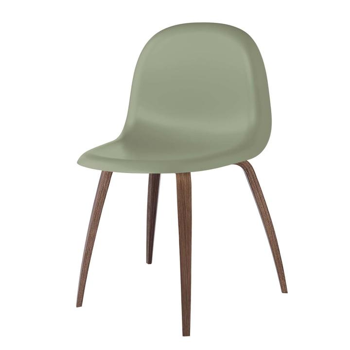 3D Dining Chair Wood Base von Gubi in Walnuss / Mistletoe Green
