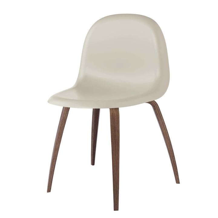 3D Dining Chair Wood Base von Gubi in Walnuss / Moon Grey