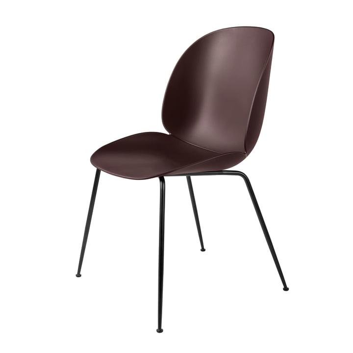 Beetle Dining Chair Conic Base von Gubi in Schwarz / Dark Pink