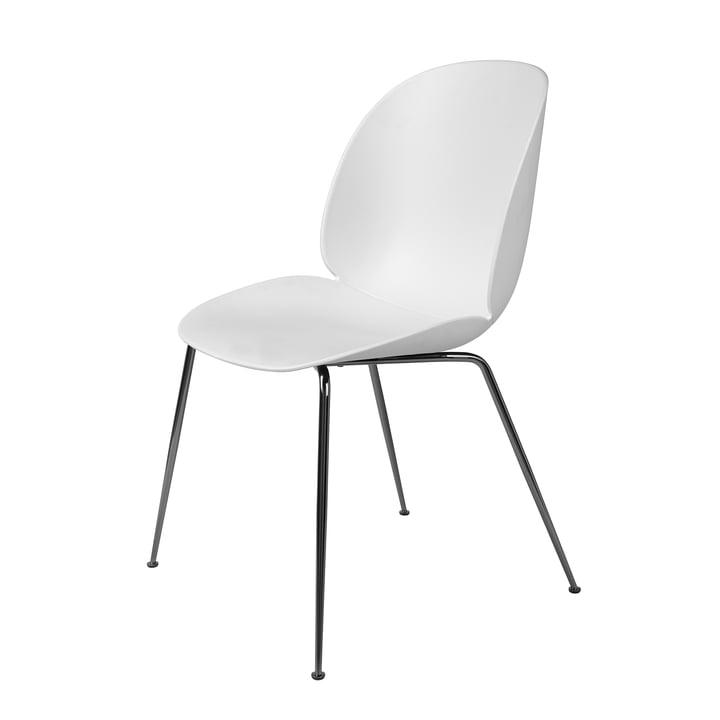 Beetle Dining Chair Conic Base von Gubi in Schwarz verchromt / Weiß