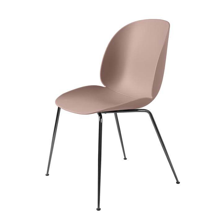 Beetle Dining Chair Conic Base von Gubi in Schwarz verchromt / Sweet Pink