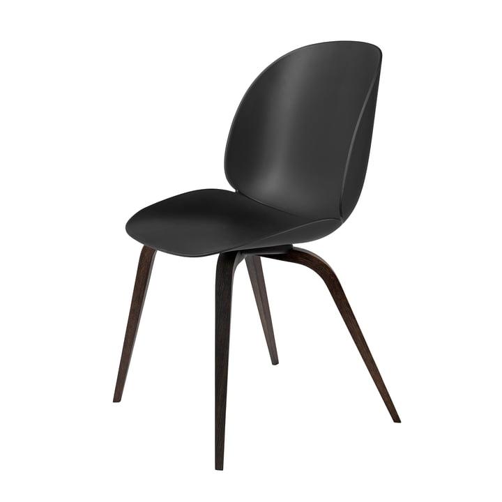 Beetle Dining Chair Wood Base von Gubi in schwarz gebeizt / Schwarz