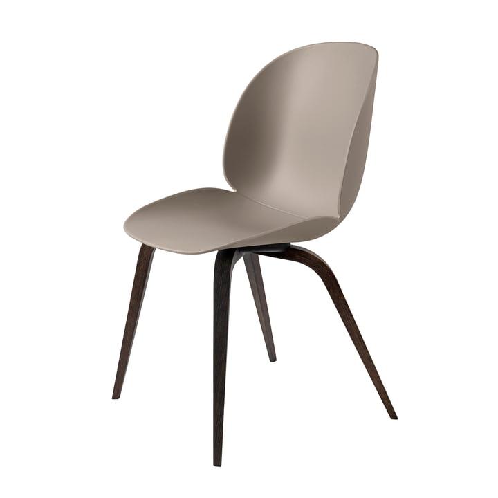 Beetle Dining Chair Wood Base von Gubi in schwarz gebeizt / New Beige
