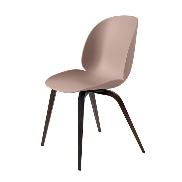 Beetle Dining Chair Wood Base von Gubi in Schwarz gebeizt / Sweet Pink