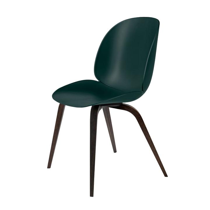 Beetle Dining Chair Wood Base von Gubi in schwarz gebeizt / Grün