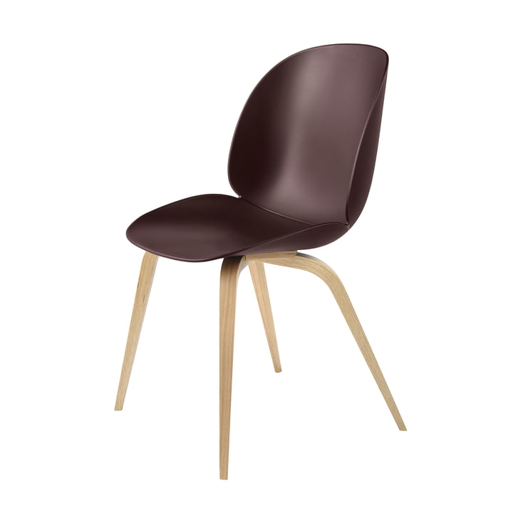 Beetle Dining Chair Wood Base von Gubi in Eiche / Dark Pink