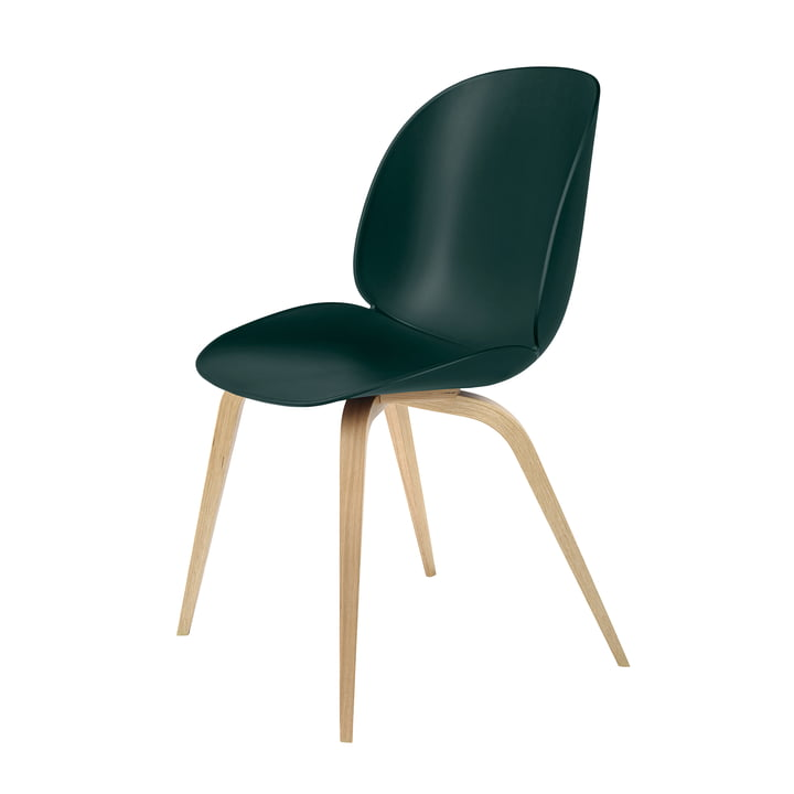 Beetle Dining Chair Wood Base von Gubi in Eiche / Grün
