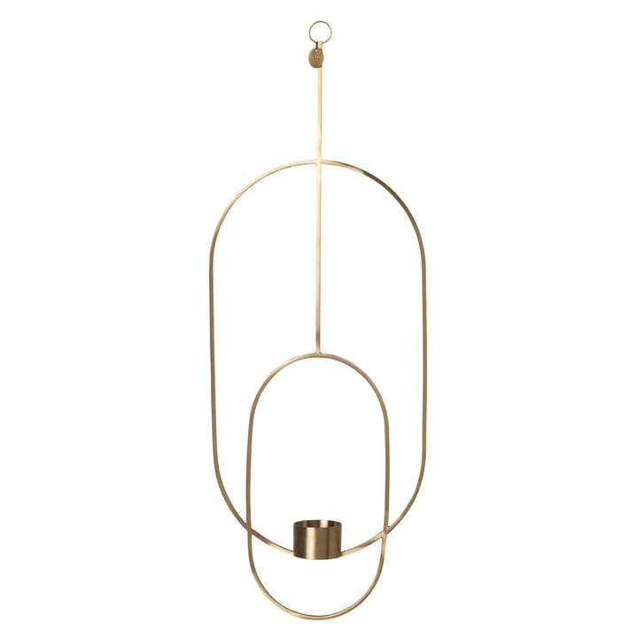 Ovaler Teelichthalter zum Aufhängen von ferm Living in Messing