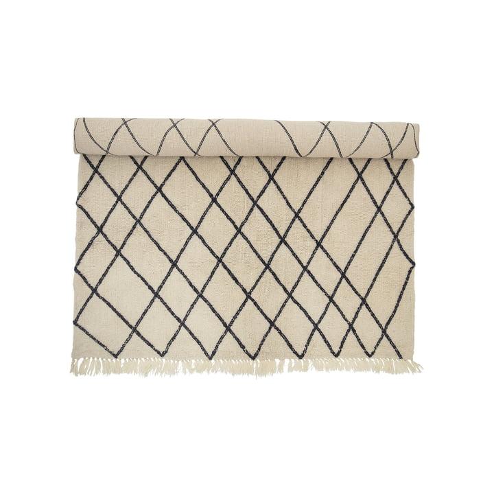 Wollteppich 300 x 200 cm im Rautenmuster von Bloomingville in Beige / Schwarz
