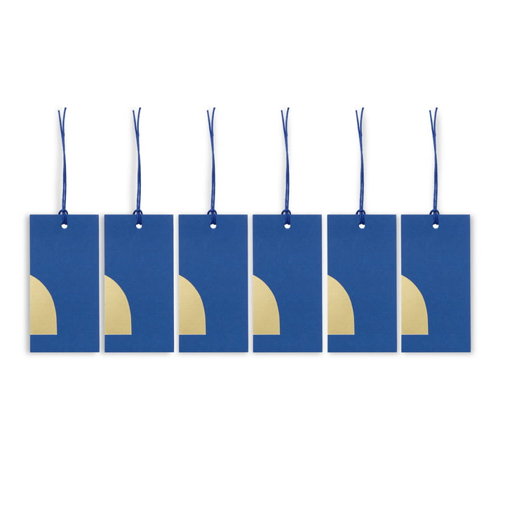 ferm Living - Art Geschenkanhänger, blau (6er-Set)