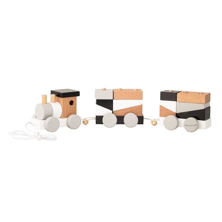 Zug mit 2 Waggons und Klötzchen von Bloomingville in Schwarz / Weiß / Grau