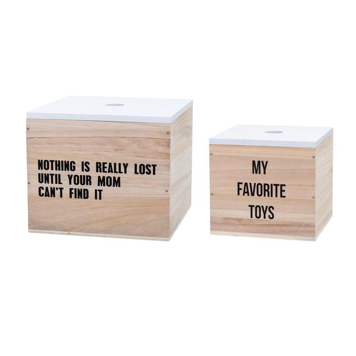 Spielzeugkiste Toys im 2er-Set) von Bloomingville in Weiß / Natur