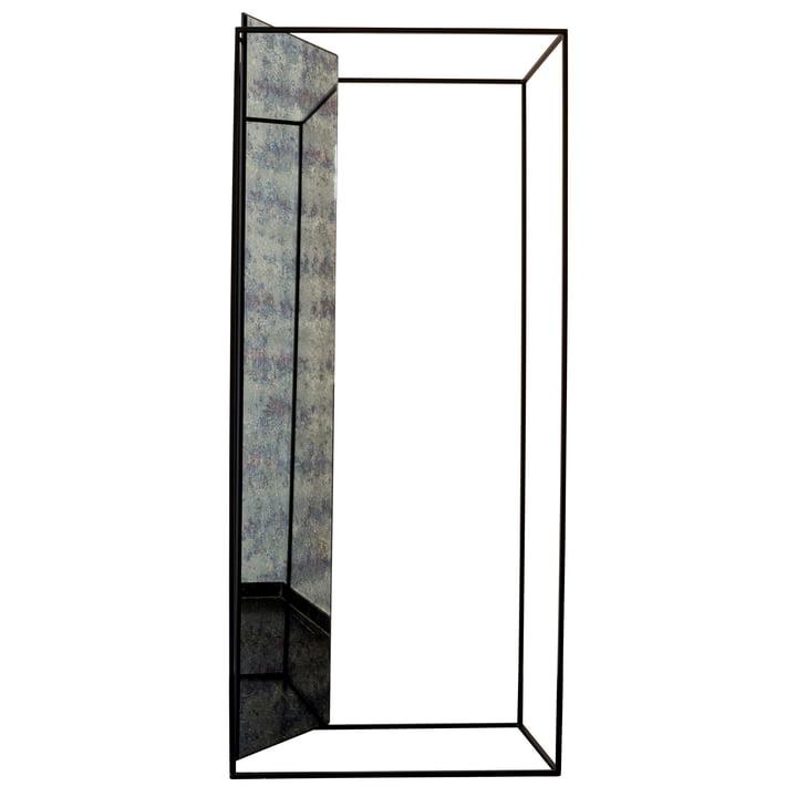 Die Pulpo - Miro Spiegelgarderobe, Antikglas / schwarz (RAL 9005)