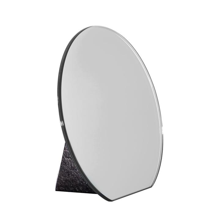 Pulpo - Dita Tischspiegel Ø 30 cm, silber / Standfuß schwarz