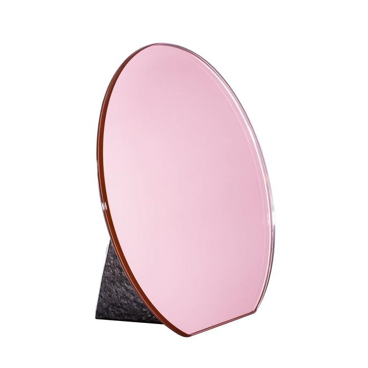 Pulpo - Dita Tischspiegel Ø 30 cm, rosa / Standfuß schwarz