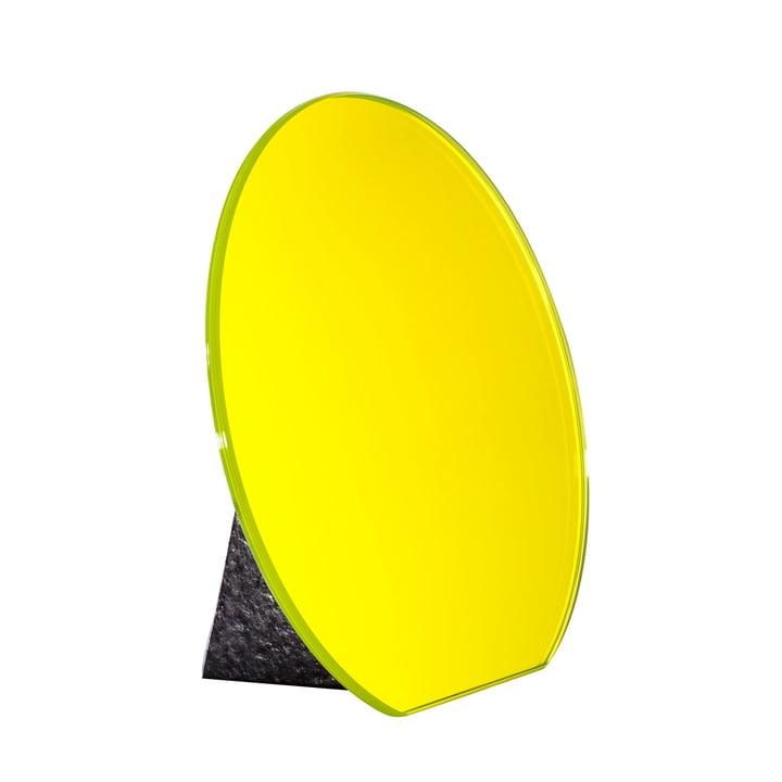 Pulpo - Dita Tischspiegel Ø 30 cm, lime yellow / Standfuß schwarz