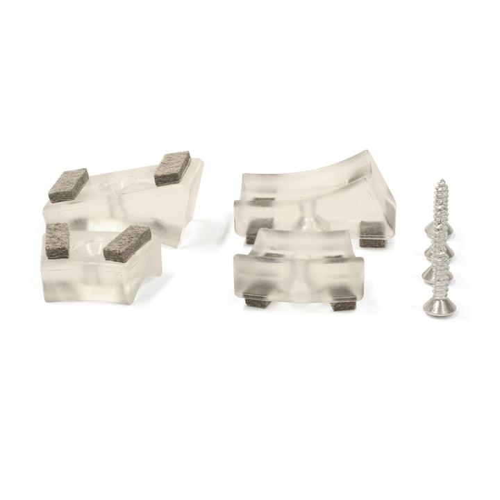 Thonet - Gleiter für Stahlrohr-Freischwinger, Kunststoffgleiter mit Filzeinlage / transparent