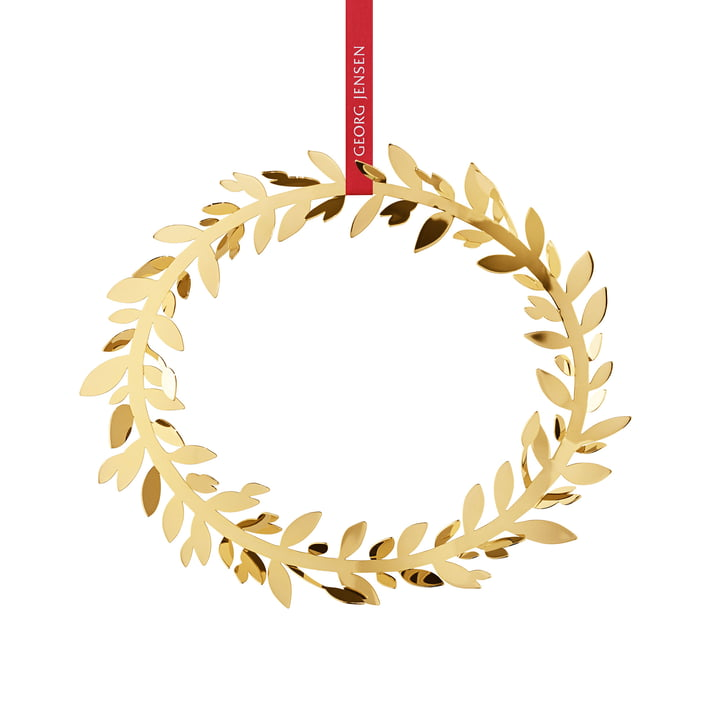 Weihnachtsschmuck Magnolia Kranz von Georg Jensen in gold