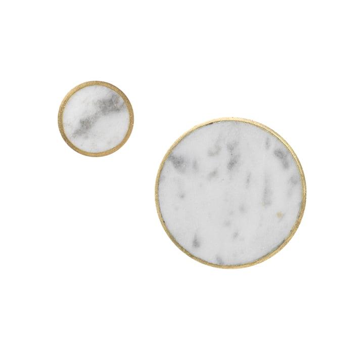 Wandhaken Stone von ferm Living in Messing / Marmor Weiß