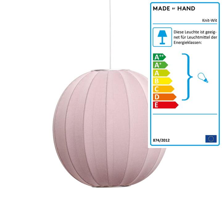 Knit-Wit Pendelleuchte Ø 60 cm von Made by Hand in Light Pink