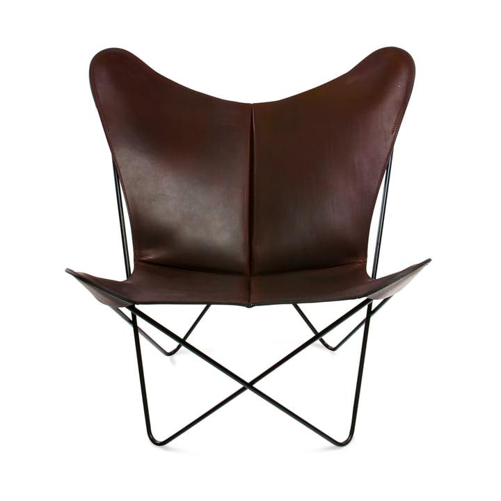 Ox Denmarq - Trifolium Chair, Stahl pulverbeschichtet, schwarz/ Leder mocca