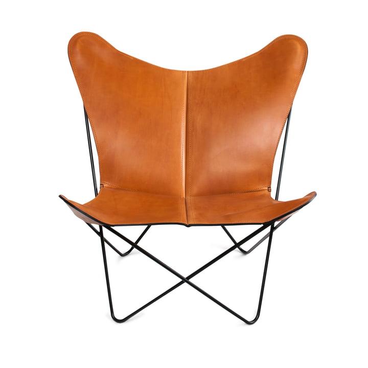 Ox Denmarq - Trifolium Chair, Stahl pulverbeschichtet, schwarz/ Leder haselnuss