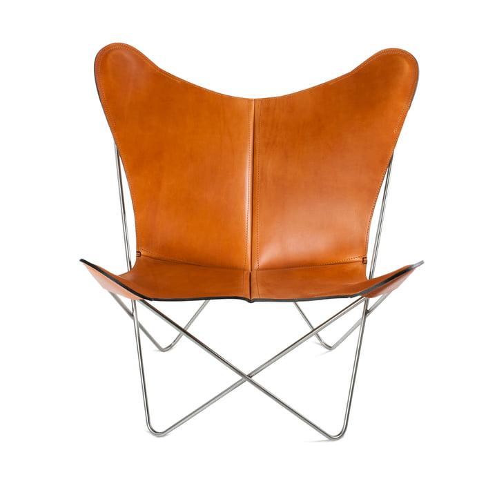 Ox Denmarq - Trifolium Chair, Edelstahl/ Leder haselnuss
